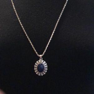 NWOT Silver tone chain with lapis-lazuli-esque.